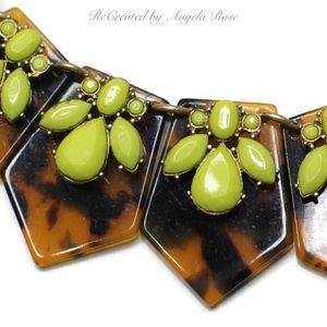 J Crew Brown Tortoise and Lime Green Necklace